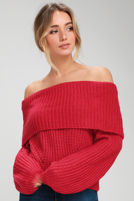 The Lulus Carmichael Red Off-the-Shoulder Knit Sweater is a flirty, cool-weather wardrobe essential! Cozy medium-weight knit shapes this stylish sweater with a foldover off-the-shoulder neckline, relaxed long sleeves, and a slightly cropped bodice. Contrasting ribbed knit accents the sleeve cuffs and hem. Fit: This garment fits true to size. Length: Size small measures 17.5\