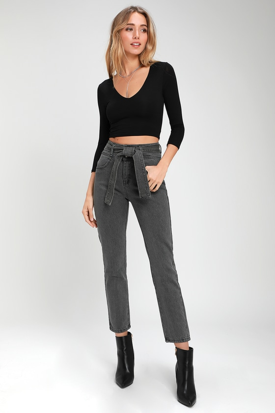 c223154047 Cute Grey High-Waisted Jeans - Tying Belt Jeans - Skinny Jeans