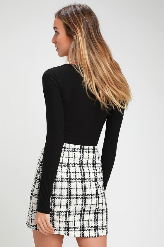 fe93601e3 Chic Black and White Plaid Skirt - Tweed Skirt - Plaid Mini Skirt
