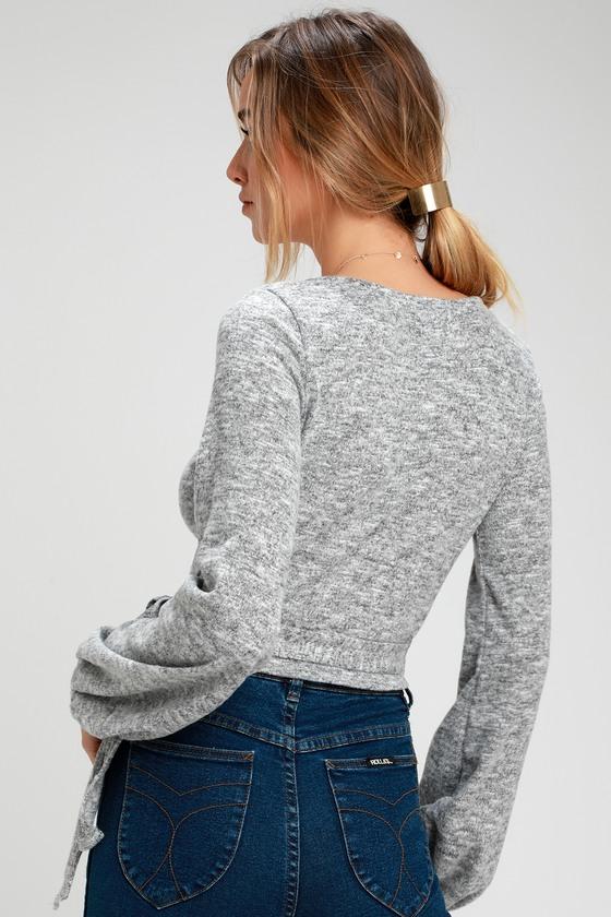 0db1ecb64a711 Cute Wrap Top - Heather Grey Top - Fuzzy Wrap Top - Grey Top