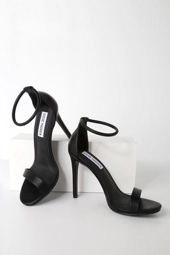 Steve Madden Soph Black Ankle Strap Heels