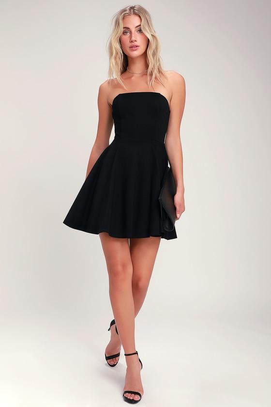 About a Twirl Black Strapless Skater Dress