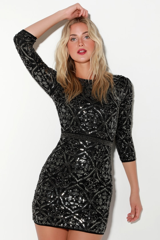 Image of Bright Night Black Beaded Sequin Bodycon Dress - Lulus