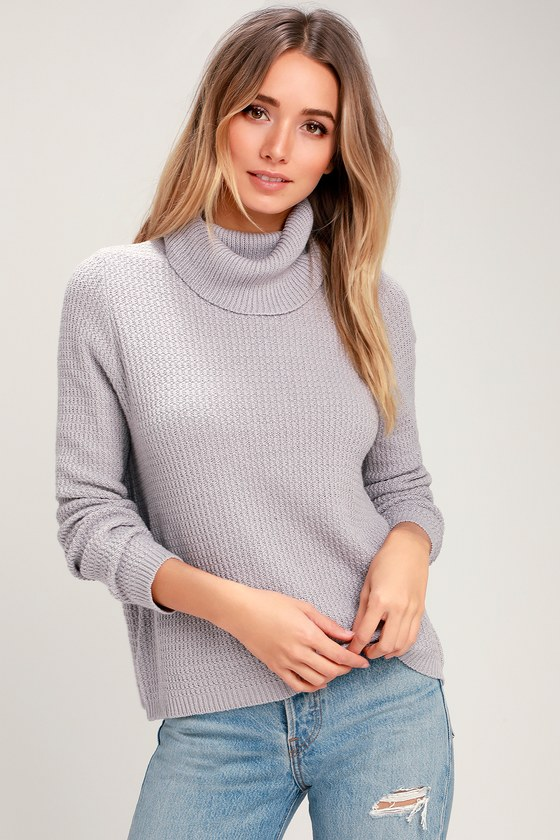 87e002ad90b0 Cute Light Grey Top - Turtleneck Top - Sweater Top - Sweater