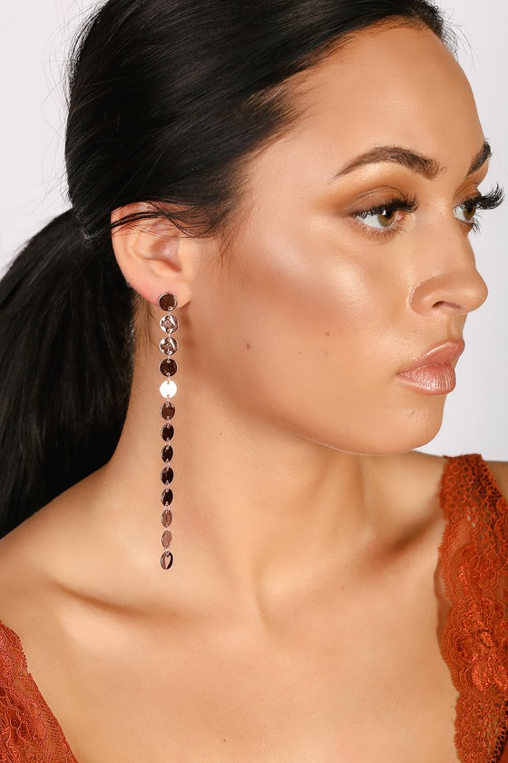 Bronx Rose Gold Drop Earrings - Lulus