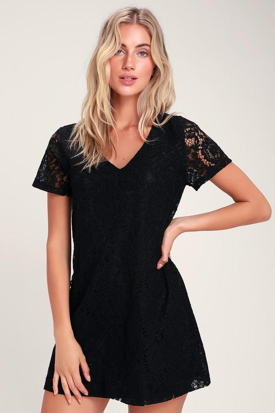 Black Shift Dress Short Sleeve