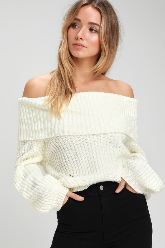 Cute Ivory Sweater Off The Shoulder Sweater Knit Sweater