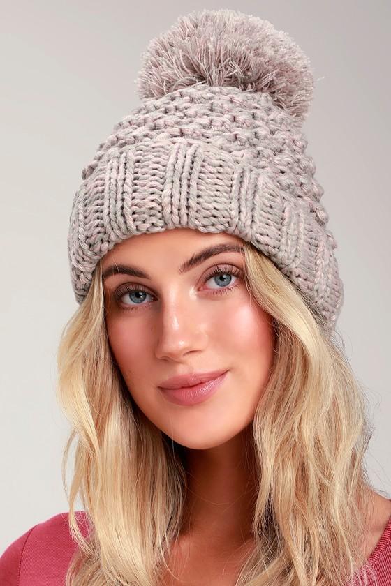 Cute Grey and Pink Beanie - Knit Beanie - Pom Pom Beanie 4ae0177c626