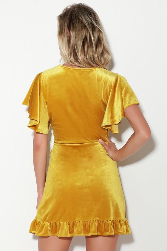 5d8b1441b6 Jack by BB Dakota West Village - Golden Yellow Velvet Wrap Dress