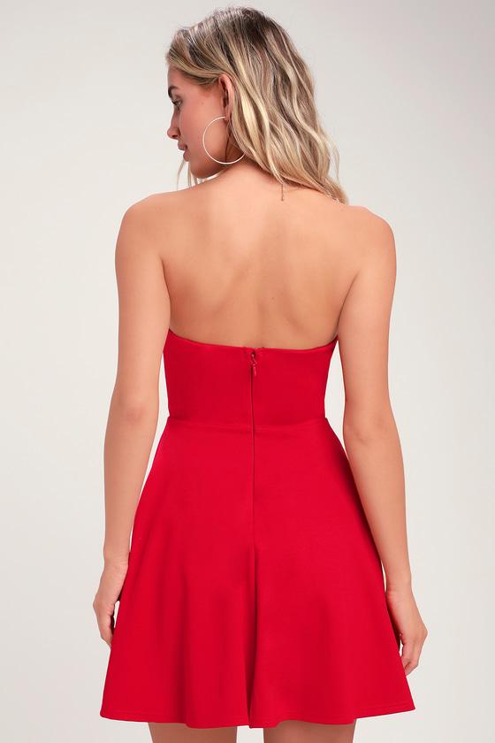 Cute Red Dress - Strapless Dress - Strapless Skater Dress f9a50f52e