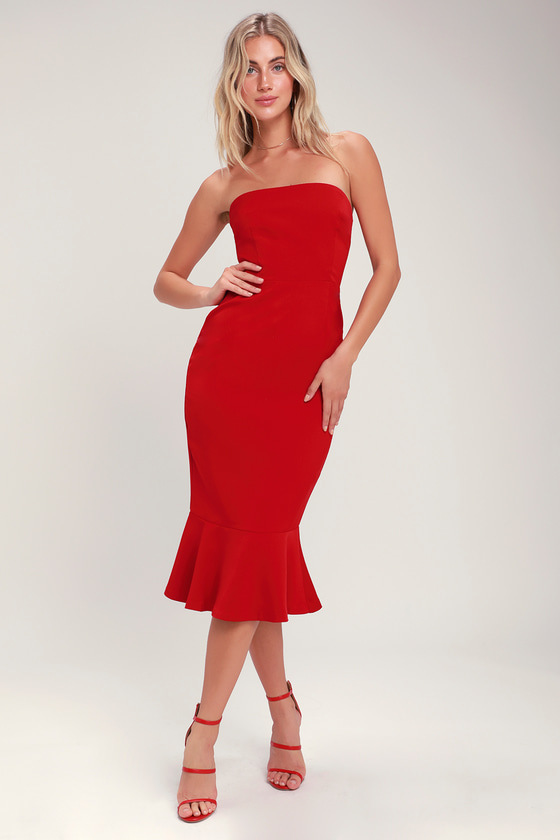 Light My Fire Red Strapless Midi Dress