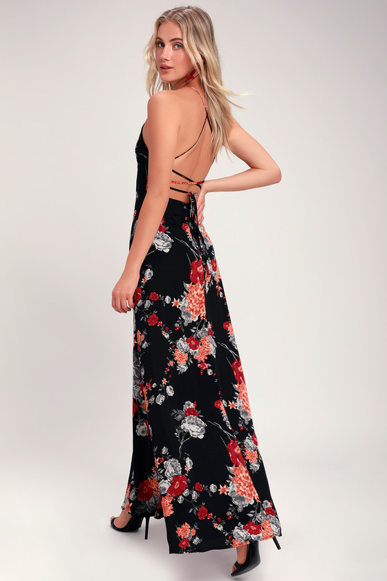 2e89be9885 Lovely Floral Print Dress - Black Maxi Dress - Lace-Up Dress