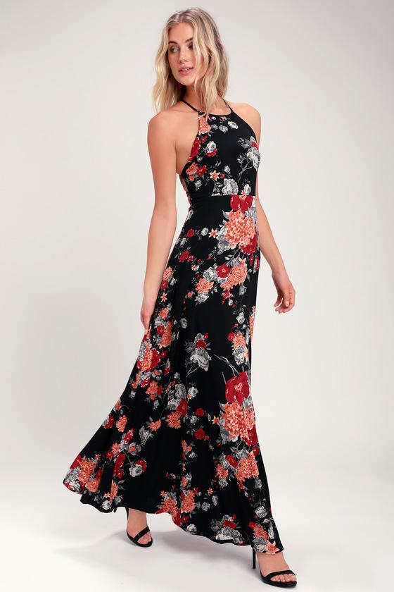 93bd1f4c3121 Lovely Floral Print Dress - Black Maxi Dress - Lace-Up Dress