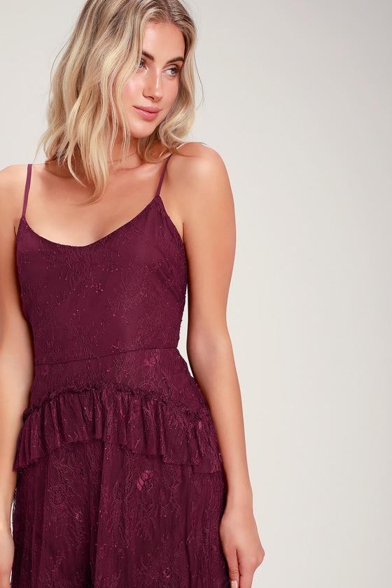 9a82a06976 Cute Burgundy Lace Dress - Lace Midi Dress - Ruffle Lace Dress