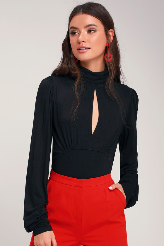 First Love Black Mock Neck Long Sleeve Top by Free People