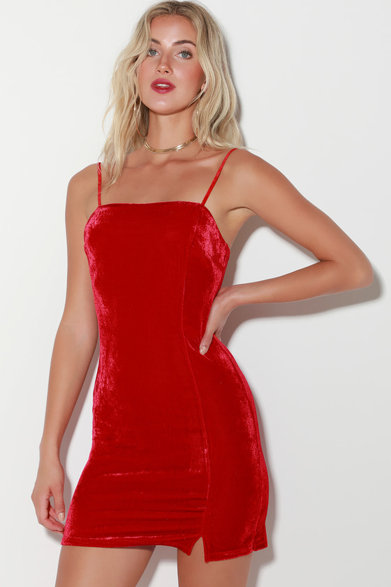 bfe7519805 Sexy Red Velvet Dress - Velvet Bodycon Dress - Velvet Mini Dress