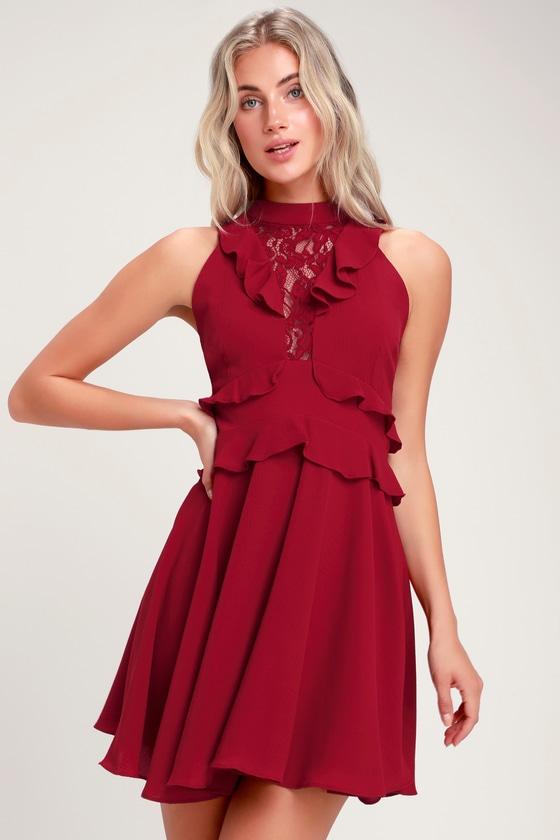 18ece22bda06 BB Dakota Crazy in Love - Wine Red Dress - Ruffled Mini Dress
