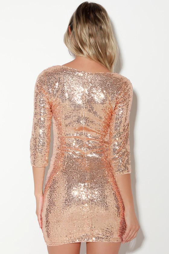 8469cb4da7 Sexy Gold Sequin Dress - Sequin Bodycon Dress - 3 4 Sleeve Dress