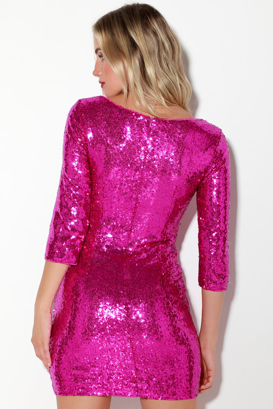 a35be74abd Sexy Magenta Dress - Sequin Bodycon Dress - 3 4 Sleeve Dress