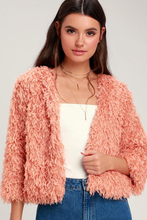 5ed41eb160a437 Cute Peach Coat - Fuzzy Cropped Coat - Eyelash Knit Coat