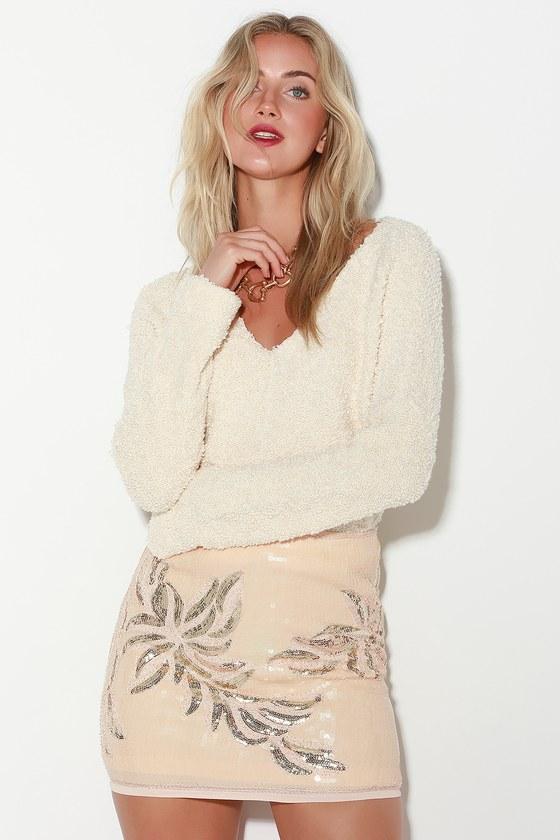 Chic Gold and Cream Skirt - Sequin Skirt - Leaf Print Mini Skirt 83138298c52a