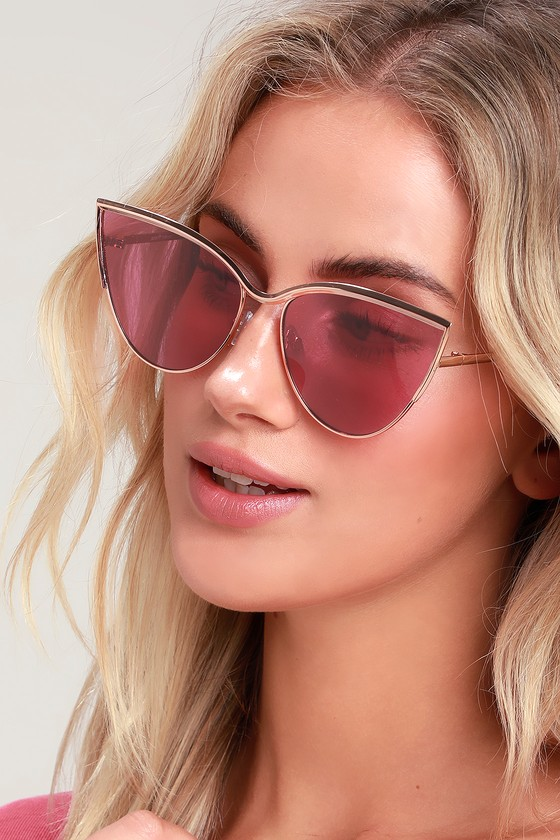Retro Sunglasses | Vintage Glasses | New Vintage Eyeglasses Jo Jo Rose Gold and Burgundy Cat-Eye Sunglasses - Lulus $14.00 AT vintagedancer.com