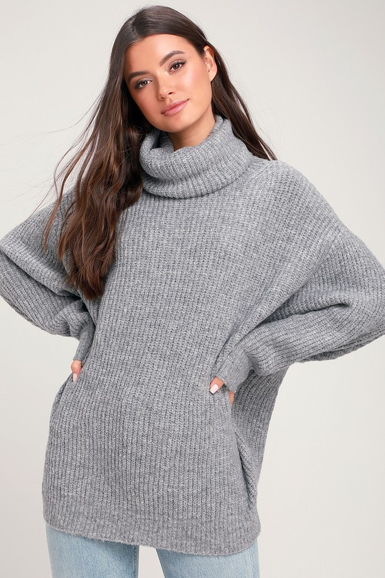 80a245bd44737b Chic Grey Knit Sweater - Oversized Sweater - Turtleneck Sweater