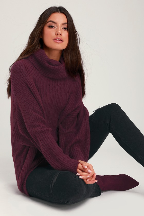 Conway Plum Purple Oversized Knit Turtleneck Sweater - Lulus