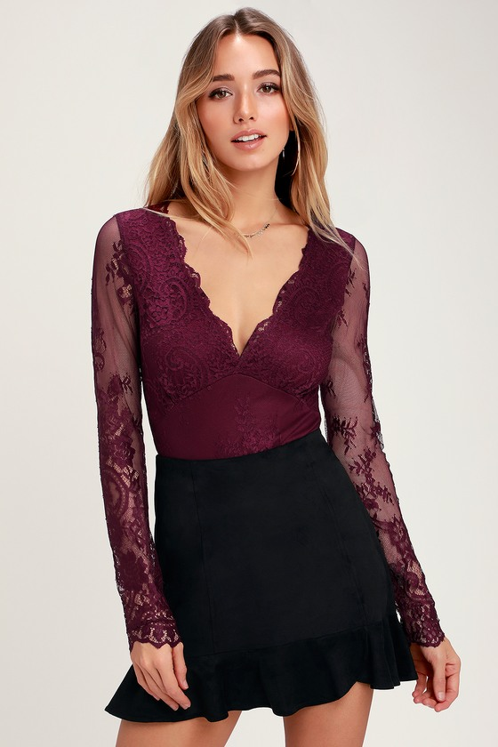 Sexy Burgundy Bodysuit - Long Sleeve Bodysuit - Lace Bodysuit caa3e222c