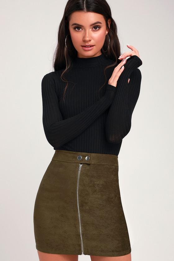 ae29947a196e Chic Mini Skirt - Vegan Suede Mini Skirt - Olive Green Mini Skirt