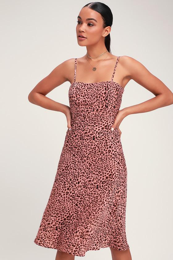 a78665bb8dfc4 Chic Leopard Print Dress - Pink Leopard Dress - Blush Midi Dress