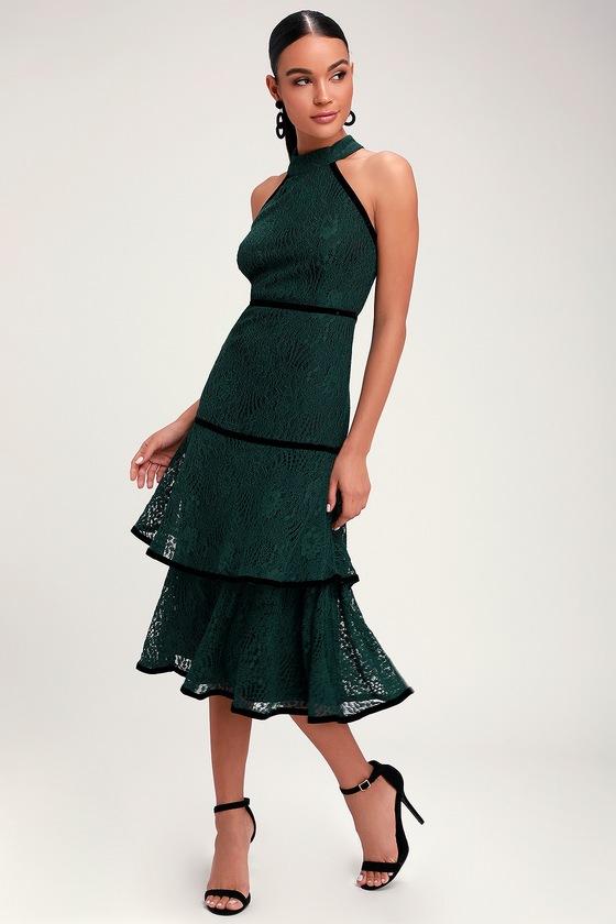 8f8a6045868 Cute Forest Green Dress - Lace Dress - Halter Dress - Midi Dress