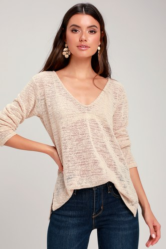 3a04de338be Stansbury Beige Loose Knit Sweater Top