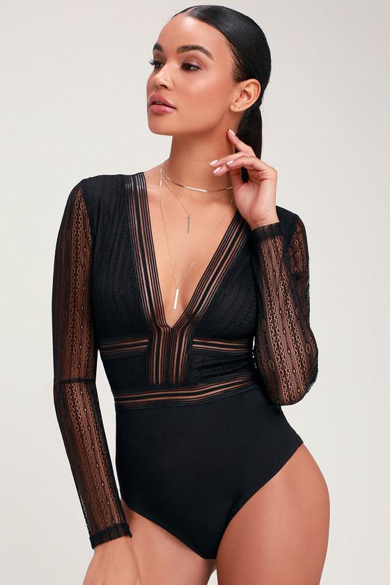 31fb3e4cc7e4 Sexy Black Bodysuit - Sheer Lace Bodysuit - long Sleeve Bodysuit