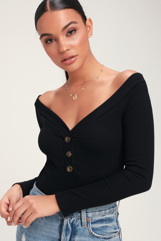 d23852595ef43 Cute Black Bodysuit - Ribbed Bodysuit - Off-the-Shoulder Bodysuit
