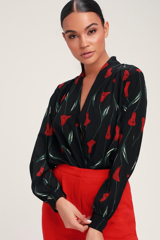 26a6c5e872 LUSH Bodysuit - Black Floral Print Bodysuit - Surplice Bodysuit