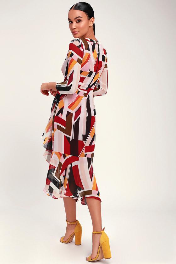 02334b502d30 Chic Burgundy Multi Print Dress - Geometric Print Midi Dress
