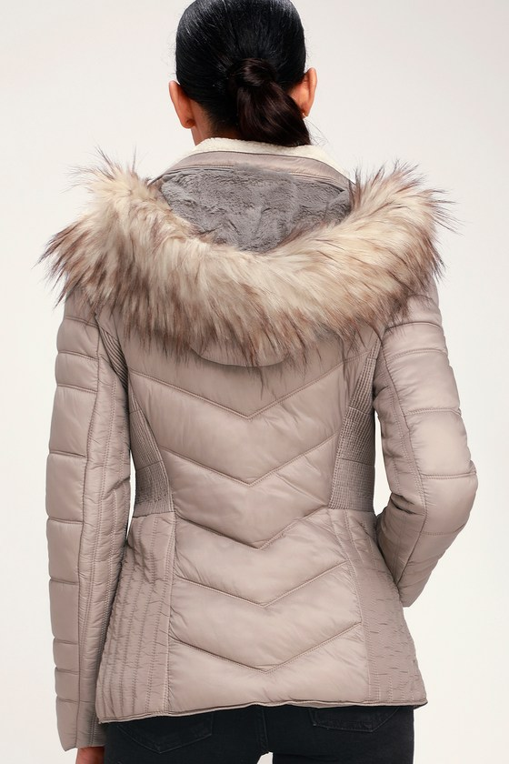 34e3a52d83e25 Cute Puffer Jacket - Taupe Jacket - Faux Fur Hooded Jacket