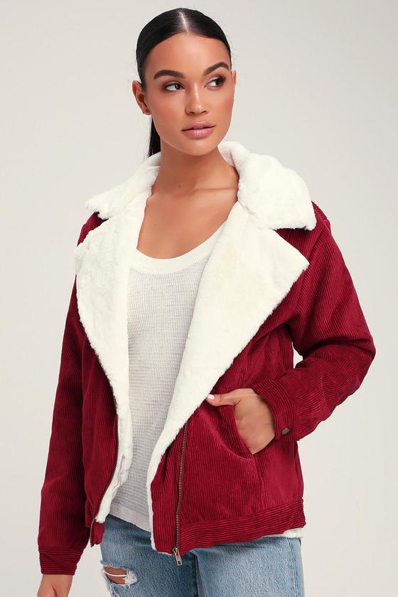 b2c529d2bde Cute Burgundy Jacket - Corduroy Jacket - Shearling Jacket