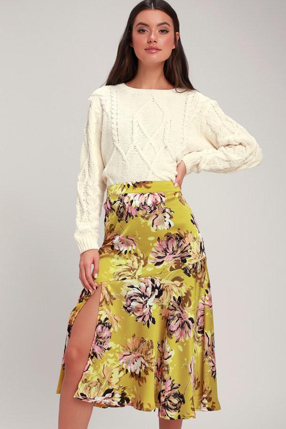 54879507f Cute Yellow Skirt - Floral Print Skirt - Yellow Floral Skirt