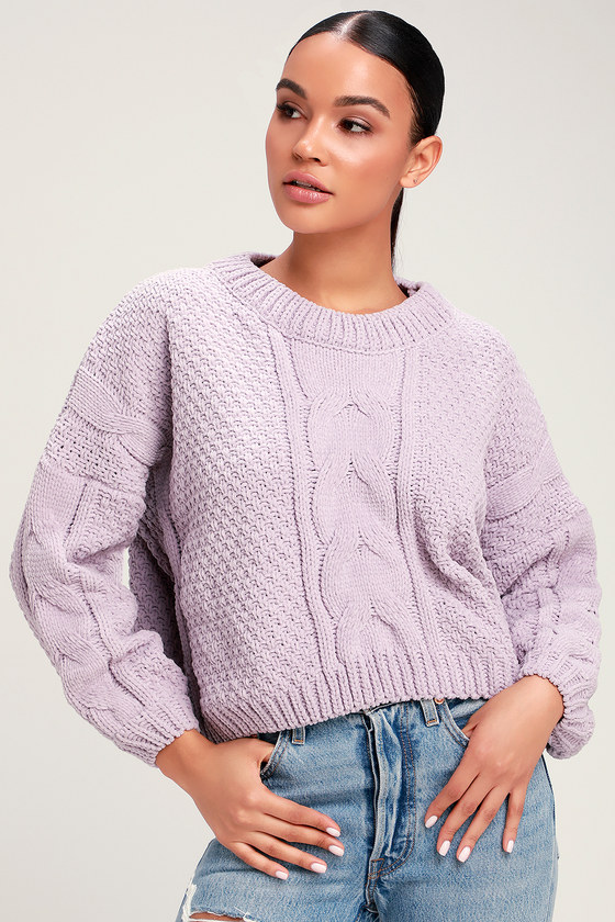b3d1c3c56 Lavender Cable Knit Sweater - Chenille Sweater - Cropped Sweater