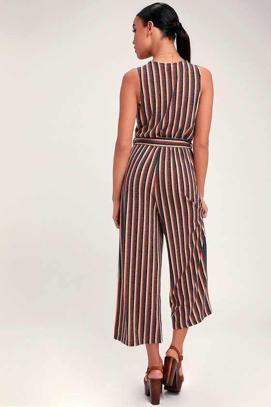 f7739c551348 Cute Red Multi Striped Jumpsuit - Wide-Leg Culotte Jumpsuit