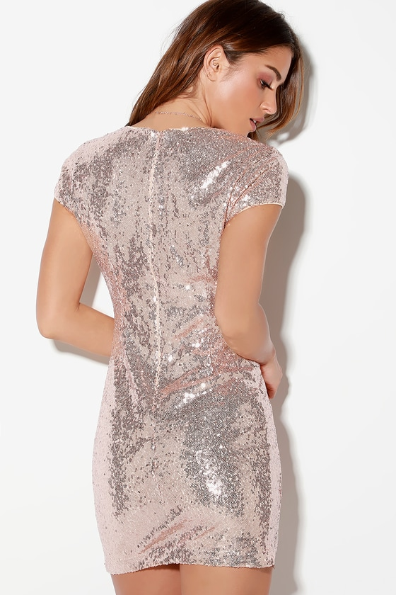 f37997f2 Sexy Rose Gold Dress - V-Neck Dress - Sequin Bodycon Dress