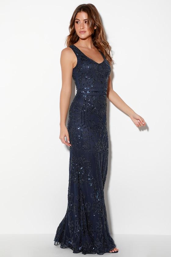 6144ff522c3 Glam Navy Blue Dress - Sequin Maxi Dress - Mermaid Maxi Dress