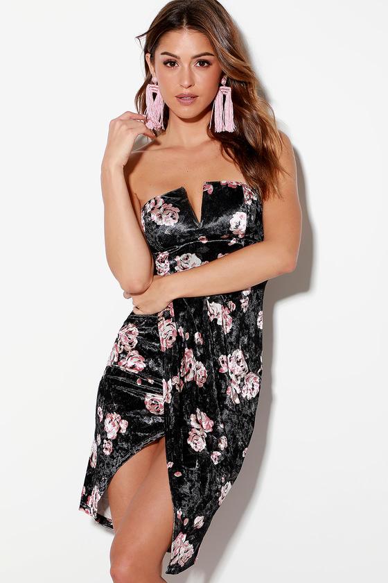 3e26092a2c1e Black Velvet Floral Print Dress - Strapless Dress - Bodycon Dress