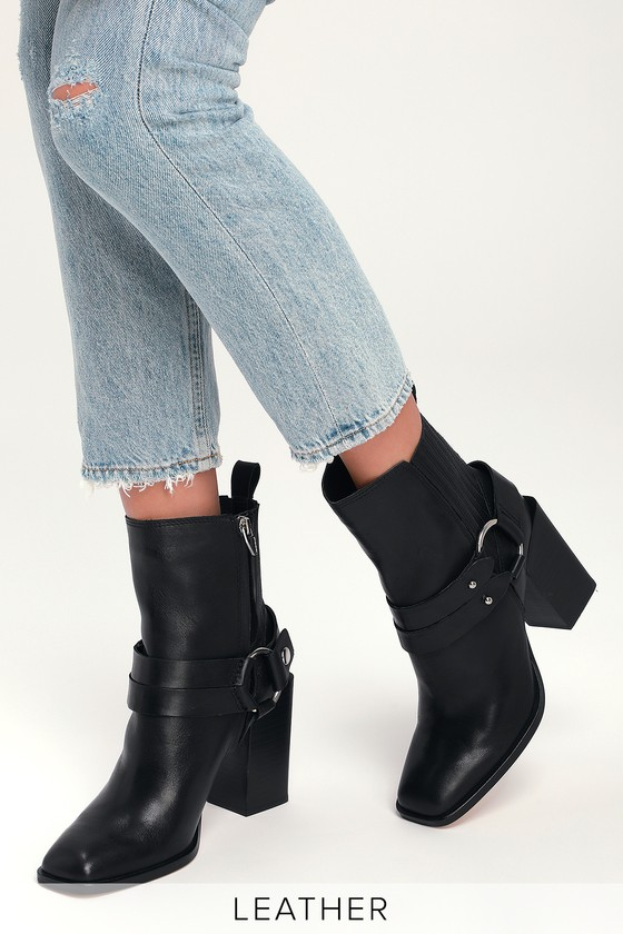 bf6336594 Dolce Vita Isara - Black Boots - Leather Boots - Square Toe Boots