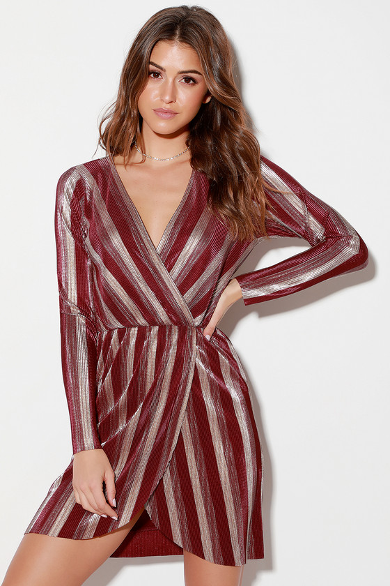 V.I.P. Party Gold and Burgundy Striped Pleated Long Sleeve Dress -Fall Trendy Outfit
