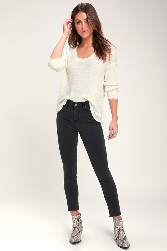 60de429f29e Cute Washed Black Jeans - High Rise Jeans - Skinny Ankle Jeans