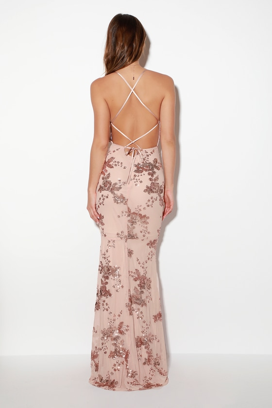 Lovely Rose Gold Dress - Maxi Dress - Lace-Up Sequin Dress 5ab0ad434fb0