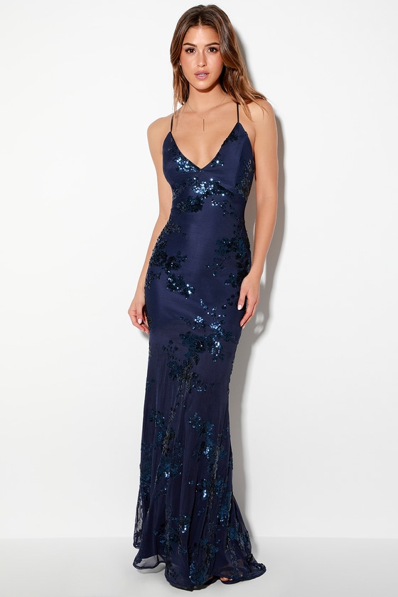 7b5f646d8c Lovely Navy Blue Dress - Maxi Dress - Lace-Up Sequin Dress